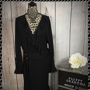 Black Flutter Dress with Bell Sleeves